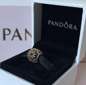 Genuine PANDORA 14ct Gold Black Spinel Openwork Charm 750821SPB ~ NEW in Box