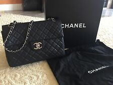 Authentic CHANEL CLASSIC XL JUMBO MAXI BLACK CAVIAR LEATHER FLAP BAG SHW