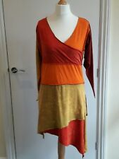 Dress BLACK YAK asymmetric V neck red orange BNWOT short 12 14