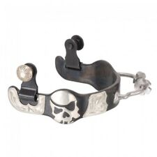 Black Steel Ladies Bumper Spurs with Engraved Silver Skull Overlay - Black -