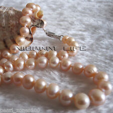 """18"""" 6-8mm Peach Pink AA Freshwater Pearl Necklace Strand Jewelry L AC"""