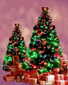 Christmas Tree 3ft 90cm Green Fibre Optic Pre Lit Multi Colour Lights GIft Box