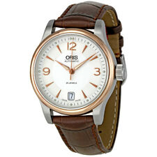 Oris Classic Date Silver Dial Brown Leather Strap Automatic Mens Watch