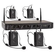 4 FACH STUDIO DJ PA BÜHNEN 4-KANAL UHF FUNKMIKROFON SET 4x HEADSET MIC SYSTEM