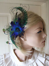 Green Royal Navy Blue Peacock Feather Quills Fascinator Hair Clip - April FG0304