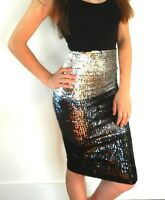 Ladies Sequins Pencil Skirt Strapless Mini Dress BodyCon Black Silver Shiny New