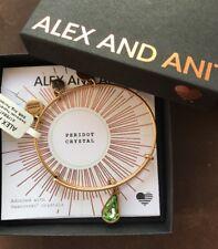 Alex and Ani Swarovski Teardrop August Birthstone Gold NWT CARD & BOX