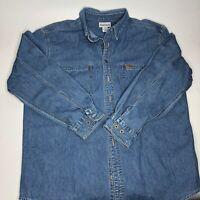 Carhartt Denim Button Up Jean Jacket Blue Men's Size Large Lightweight Shirt