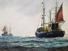 FINE LARGE ATMOSPHERIC WHITBY SEASCAPE BY JACK RIGG, OIL ON CANVAS,