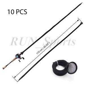 Lot 10 Black Casting Fishing Rod Pole Sleeves Baitcast Pole Sock Jacket Glove