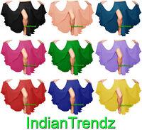 2 Front Slit Skirts Chiffon Full Belly Dance Gypsy Tribal Costume 9 Yard Jupe