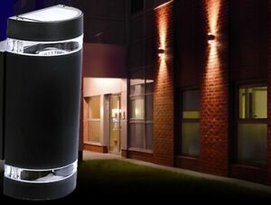 2x AUSSEN Wand Spot Strahler Lampe UP & DOWN Leuchte Garten Hof Haus Beleuchtung