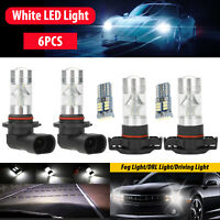 6x White LED Fog Driving DRL Light Bulbs Kit For 2007-14 Cadillac Escalade Combo