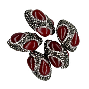 5PCS 18x32mm OlivaryFuchsia Agate BeadsTrimmed With Black Rhinestone connector