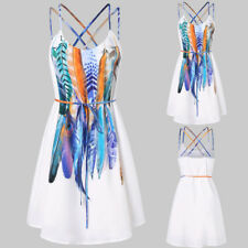 Women Holiday Strappy Bandage Summer Print Evening Party Beach Short Mini Dress