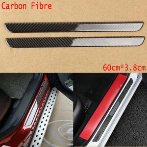 2x Carbon Fiber Car Door Scuff Plate Sill Cover Panel Guard Step Protector 60CM