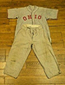 Very Rare 1930's Early 1940's Ohio State Baseball Full Uniform