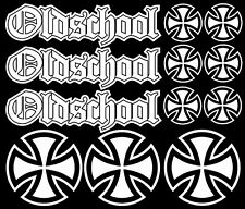 12x Iron Cross Oldschool Eisernes Kreuz Aufkleber Set Tuning Sticker Rat Look H1