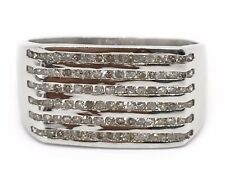 0.70 Ct Natural Diamond Mens Ring 18k Solid White Gold 11 MM Wide Size 7.5