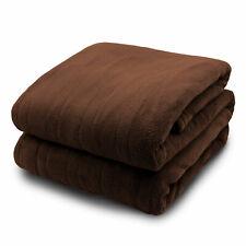 Pure Warmth Microplush Heated Electric Blanket King Chocolate