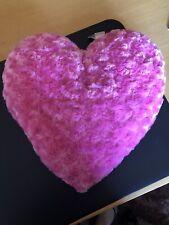 Pink Fluffy Heart Cushion, Throw Cushion, Cute, Soft Pillow, Medium Size