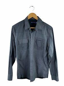Tarocash Snap Button Shirt Mens Size M Black Grey Long Sleeve Collared Pocket