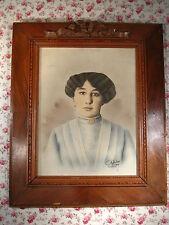 Ancien Grand Portrait Dessin PASTEL Jeune Femme Signé G CATELIN 1921 LILLE woman