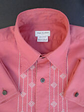 Dries van Noten Shirt Embroidered Salmon Pink French Cuff Shirt (Size 46)