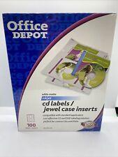 Office Depot White Matte Inkjet Cd 100 Labels Jewel Case Inserts Sealed New