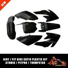 For Honda CRF70 CRF 70 Atomik Thumpstar Dirt Pit Bike Black Plastics Fender Set