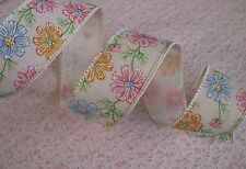Multicolor Flowers Ribbon, Wired Edge, 1 1/2 In Wide, 3 YARDS,Ribbon Decorations