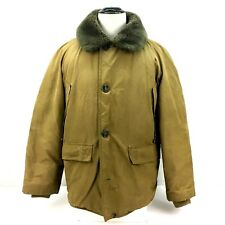 Vintage Eddie Bauer Goose Down Coat Jacket Large Beige Tan w Faux Fur Collar