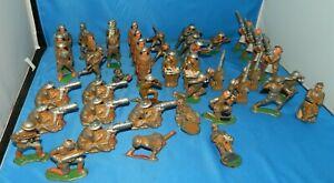 LOT OF 45 VINTAGE MANOIL BARCLAY ARMY SOILDERS  METAL TOYS bazooka Mortar Men