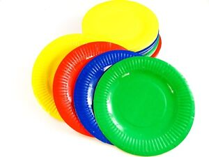 100 Paper  Plates - Red, Green, Blue, Yellow - 18cm Arts Crafts Children Kids