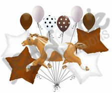 11 pc Painted Pony Balloon Bouquet Decoration Animal Farm Happy Birthday Horse