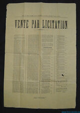 █ affiche VENTE PAR LICITATION 1882 VOSGES à Attigny / Saint-Julien Adjudication