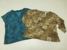 2 Womens Size XL Brown & Blue Floral Print Knit Shirt Lot Good Condition