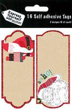 Santa Christmas Gift Tags Pack Of 16 Self Adhesive Stick On Tags