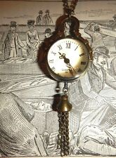 STEAMPUNK brass ivory color pocket watch necklace clock chain tassel art deco G3