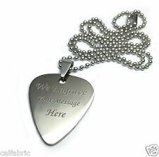 Engraved Personalized Polished Shiny Stainless Steel Guitar Pick Necklace