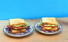 Reutter Porcelain Dollhouse Miniature  Sandwich on Roseband Tea Plates