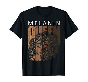Melanin Queen African American Strong Black Natural Afro T-Shirt Black S-5XL