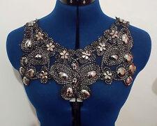 silver black jewel patch lace YOKE chest applique motif dress dance costume