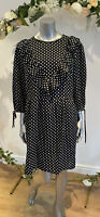 Wednesday's Girl Dress Size 8 12,18 & 22 Black Frill Spot Print Polka Dot GM86