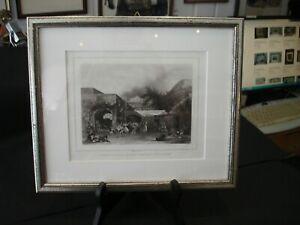"Aquatinta um 1846 ""Sorrento Napoli"" - von und nach Cherbuin - gerahmt -c221"