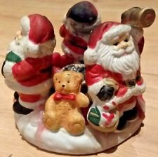 Vintage Christmas Ceramic Candle Holder - Ornament - Santa Decoration