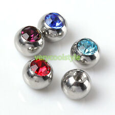 8pcs 14g CZ Crystal Steel Piercing Ball Cap For Lip Eyebrow Tongue Ear Nose Ring