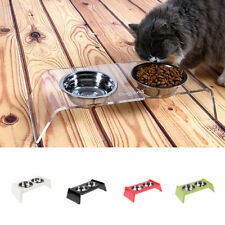 DOG FEEDING STATION Stainless Steel Double Pet Bowl+Raised Stand Food/Water Dish