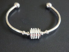 white gold open cuff with cz stone tumbler pendant bracelet stainless steel