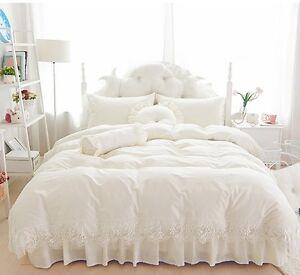 6pc. Luxury Beige Princess Lace 400 TC 100% Cotton Duvet Cover Bedding Set